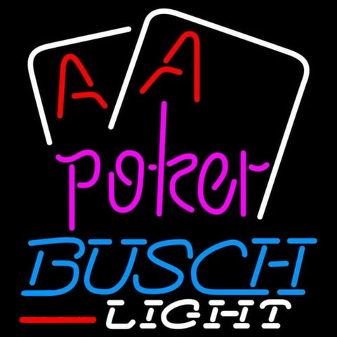Busch Light Purple Lettering Red Aces White Cards Beer Sign Handmade Art Neon Sign