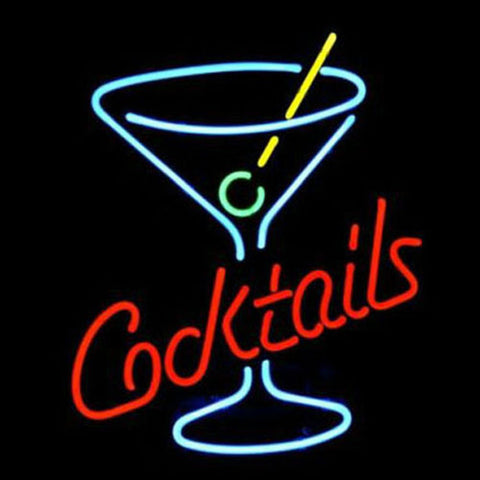 Professional  Cocktails Martini Glass Logo Beer Bar Real Neon Sign Xmas Gift Fast Ship