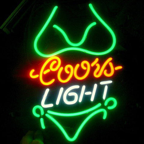 Professional  Coors Green Bikini Beer Bar Open Neon Signs