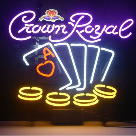Professional  Crown Royal Poker Chips Neon Sign