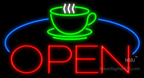 Coffee Cup Table Open Neon Sign