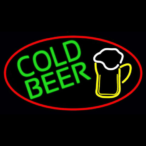 Cold Beer And Mug Oval With Red Border Handmade Art Neon Sign