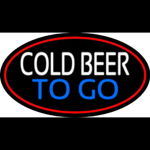 Cold Beer To Go Oval With Red Border Handmade Art Neon Sign