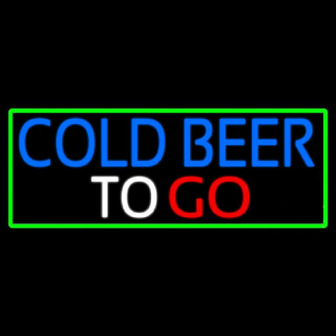 Cold Beer To Go With Green Border Handmade Art Neon Sign