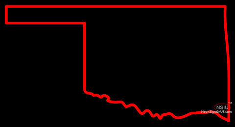 Custom Outline Of The State Of Oklahoma Neon Sign