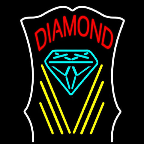 Diamond With White Border Handmade Art Neon Sign