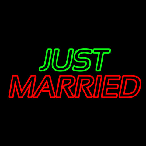 Double Stroke Just Married Handmade Art Neon Sign