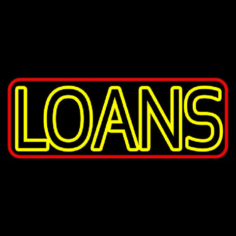 Double Stroke Loan With Red Border Handmade Art Neon Sign