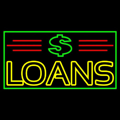 Double Stroke Loans With Dollar Logo And Border And Lines Handmade Art Neon Sign