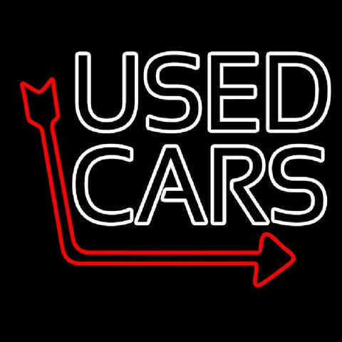 Double Stroke Used Cars Red Arrow Handmade Art Neon Sign