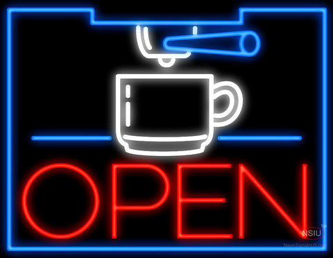 Espresso Machine Open Neon Sign