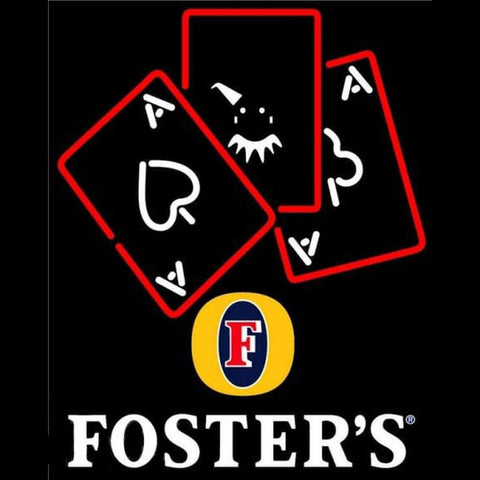 Fosters Ace And Poker Beer Sign Handmade Art Neon Sign