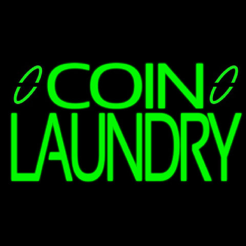 Green Coin Laundry Handmade Art Neon Sign