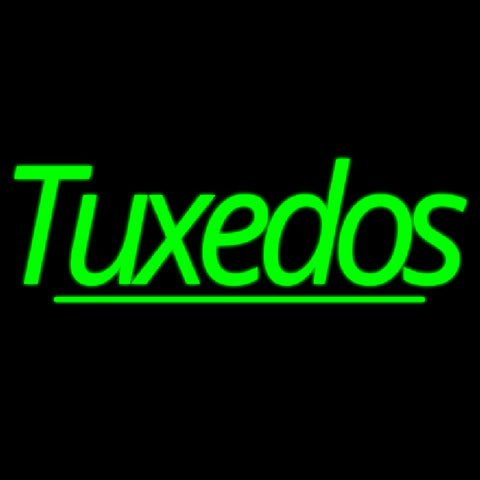Green Double Stroke Tuxedos Handmade Art Neon Sign