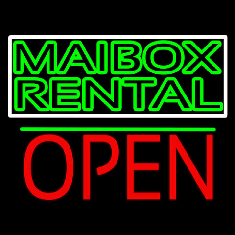 Green Mailbox Rental Block With Open 1 Handmade Art Neon Sign