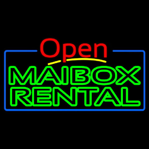 Green Mailbox Rental Block With Open 4 Handmade Art Neon Sign