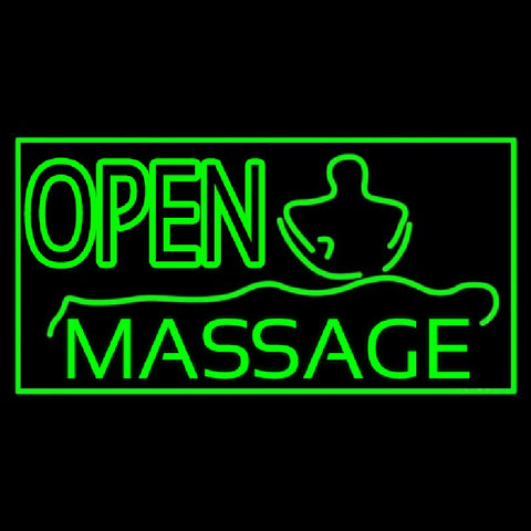 Green Open Massage Handmade Art Neon Sign