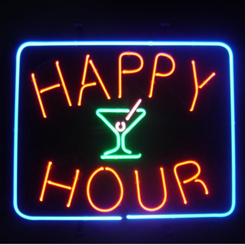 Professional  Happy Hour Beer Bar Open Neon Signs