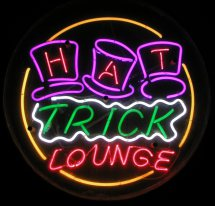 HAT TRICK LOUNGE Handmade Art Neon Sign