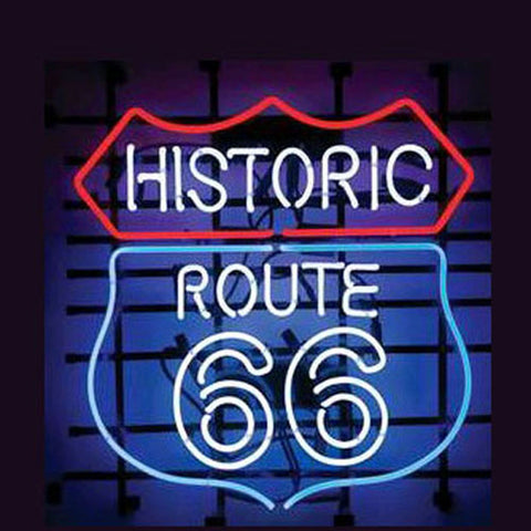 Professional  Historic Route 66 Shop Open Neon Sign
