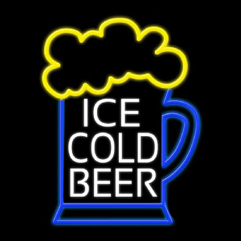 Ice Cold Beer Handmade Art Neon Sign