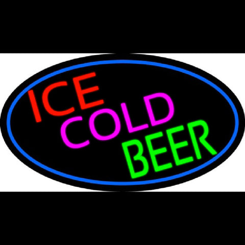 Ice Cold Beer Oval With Blue Border Handmade Art Neon Sign