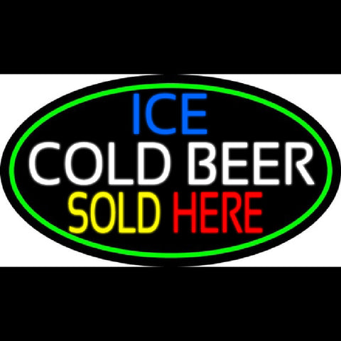 Ice Cold Beer Sold Here With Green Border Handmade Art Neon Sign