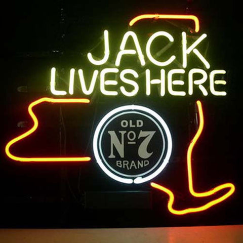 Professional  Jack Daniels Jack Lives New York Whiskey Beer Bar Open Neon Signs