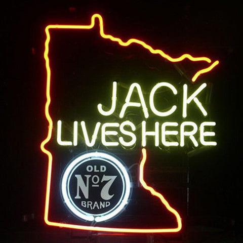 Professional  Jack Daniels Lives Here Minnasota Whiskey Neon Beer Bar Sign
