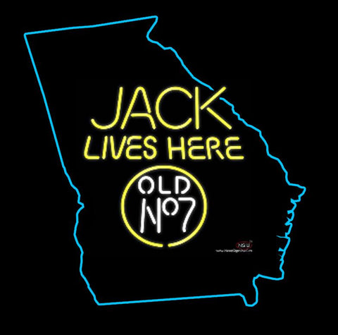 Jack Daniels Jack Lives Here Georgia Real Neon Glass Tube Neon Sign