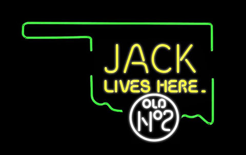 Jack Lives Here for Oklahoma Real Neon Glass Tube Neon Sign