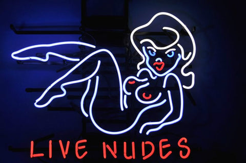Live Nudes Sexy Naked Girl Adult Strip Club Party Neon Sign