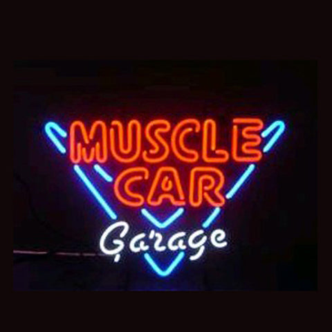 Professional  Muscle Car Garage Shop Open Neon Sign