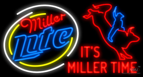 Miller Lite Rodeo Bull Rider-It's Miller Time Neon Sign