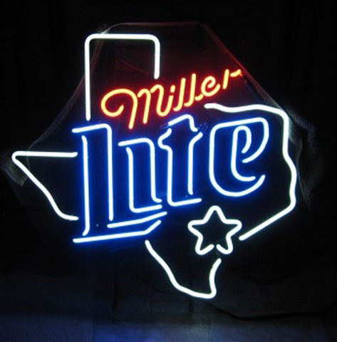Miller Lite Texas Neon Beer Sign  Man Cave Elements