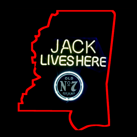 Mississippi Jack Daniels Jack Lives Here Real Neon Glass Tube Neon Sign