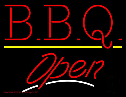 BBQ - Open White Line Neon Sign