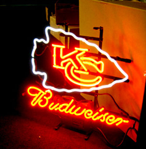 Nfl Kansas City Budweiser Beer Bar Club Neon Light Sign