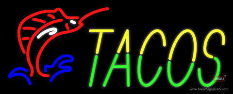 Yellow Green Tacos Neon Sign