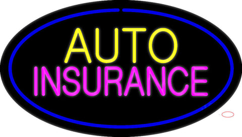 Auto Insurance Blue Oval Neon Sign