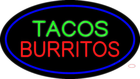 Tacos Burritos Oval Blue Neon Sign