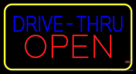 Blue Drive-Thru Red Open Yellow Border Neon Sign