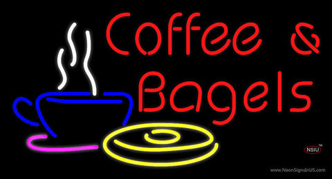Red Coffee and Bagels Neon Sign
