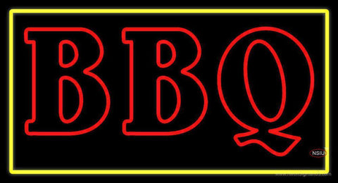 Double Stroke BBQ with Yellow Border Neon Sign