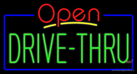 Red Open Green Drive-Thru Neon Sign