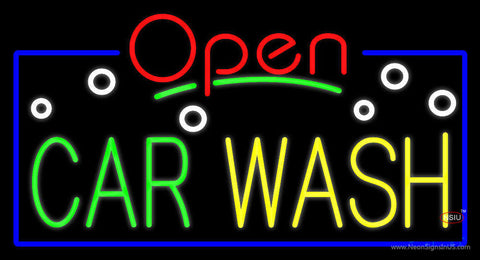 Open Car Wash Block Neon Sign