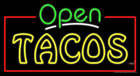 Open Double Stroke Tacos Neon Sign