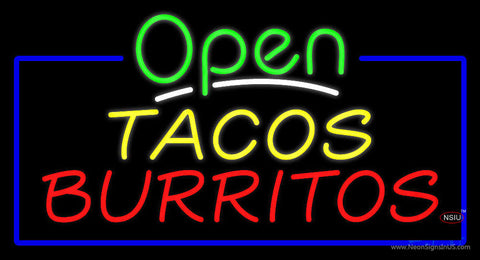 Open Tacos Burritos Neon Sign