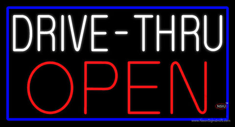 White Drive-Thru Red Open with Blue Border Neon Sign