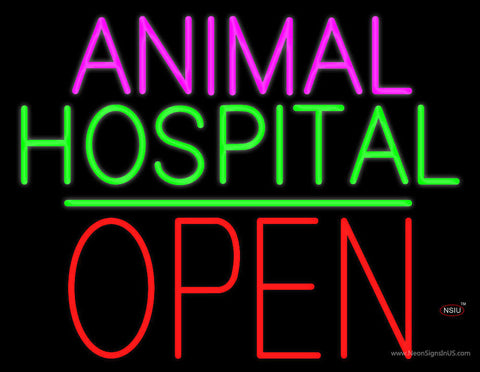 Animal Hospital Block Open Green Line Neon Sign